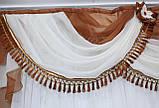 Ламбрекен ширина 2м. №27,цвет коричневий з бежевим, фото 3