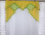 Ламбрекен на карниз 1.5м.модель №93. Цвет жовтый с салатовым, фото 2