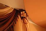 Ламбрекен №27а на карниз 1.5м. с шторкой. Цвет темно коричневый, фото 2