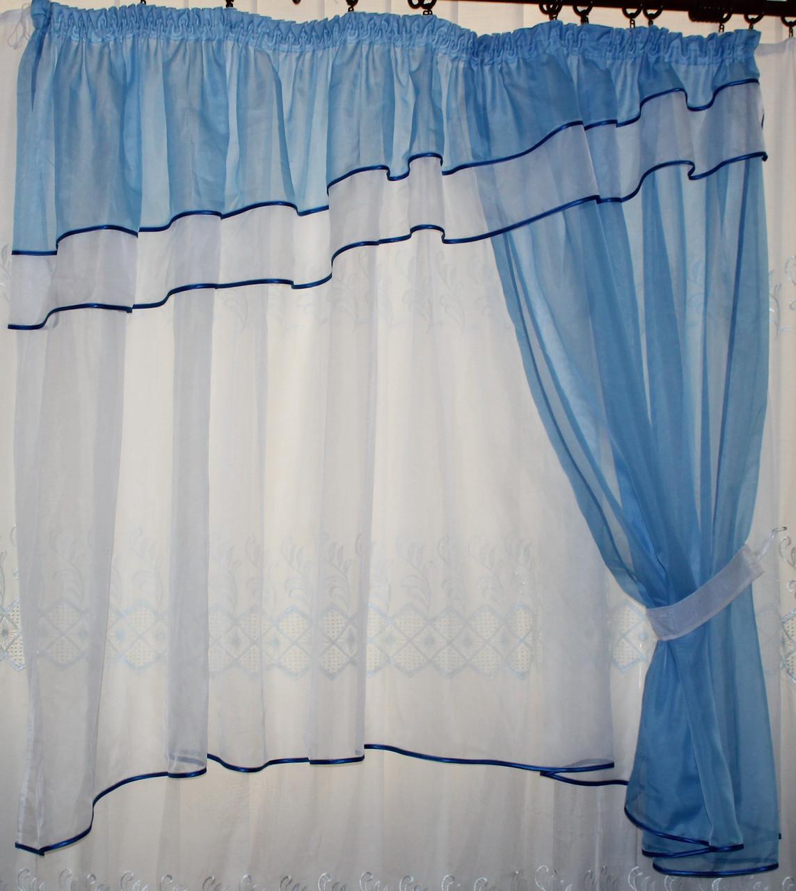 Кухонні завісу №18 колір блакитний з білим
