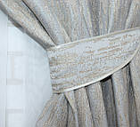 Комплект готовых светонепроницаемых штор блэкаут серый с бежевым, фото 5