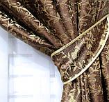 Комплект готових жакардових штор . Колір коричневий. Код 510ш, фото 3