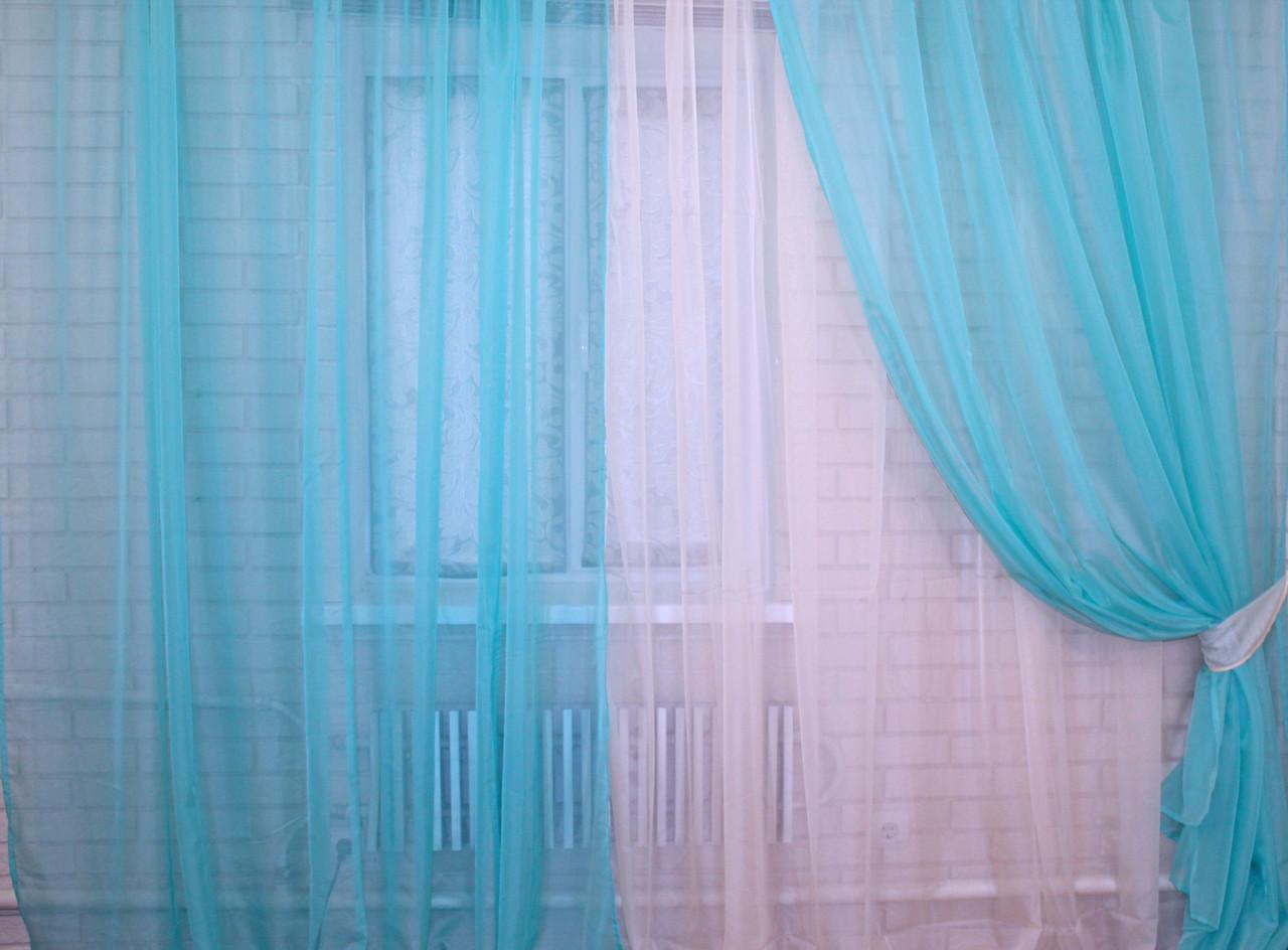 Комплект штор из шифона. Цвет бирюзовый с бежевым  011дк