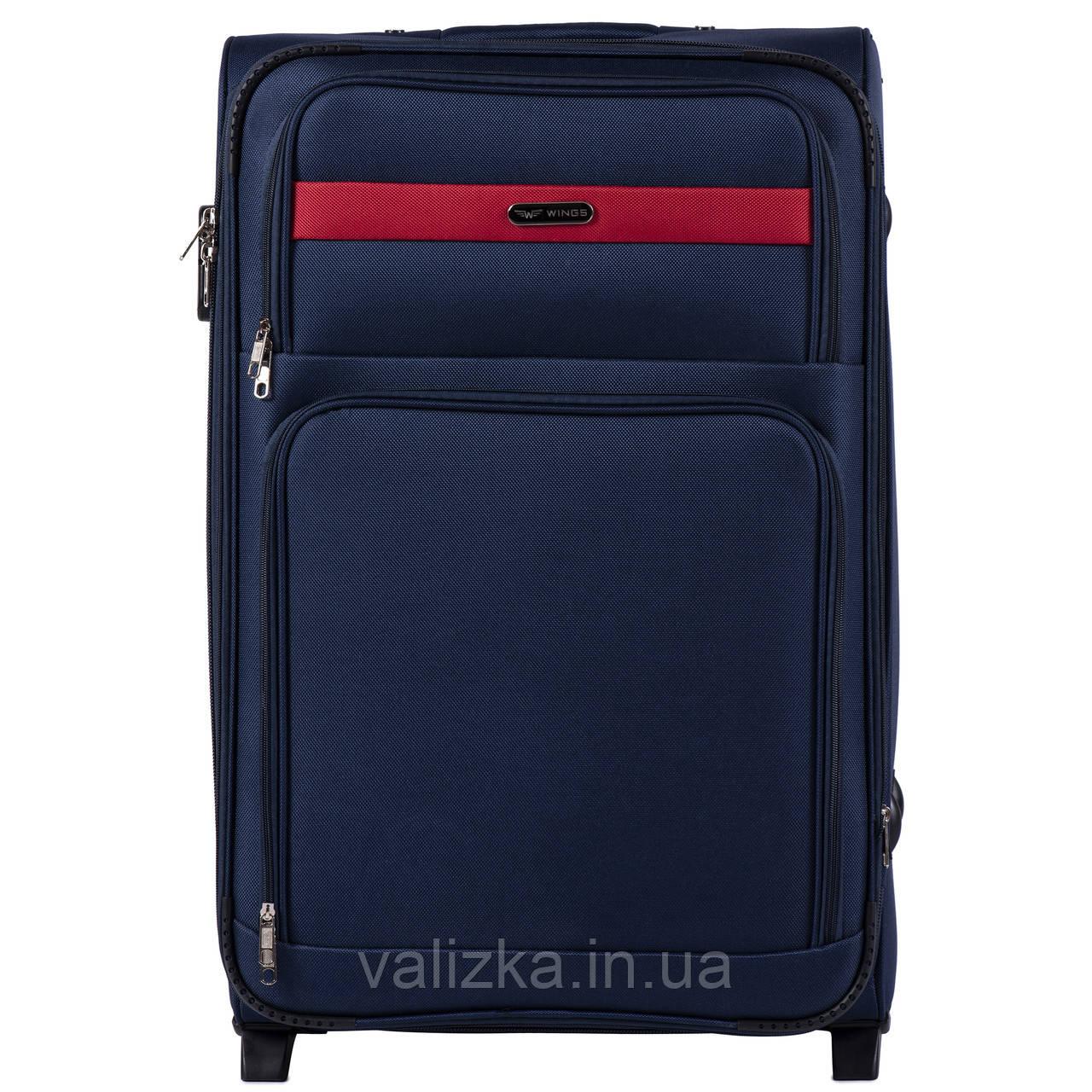 Большой текстильный чемодан синий на 2-х колесах  Wings 1605