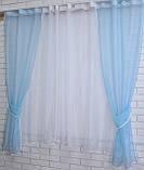 Комплект на кухню, тюль и шторки №51, Цвет голубой с белым, фото 2