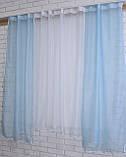 Комплект на кухню, тюль и шторки №51, Цвет голубой с белым, фото 3