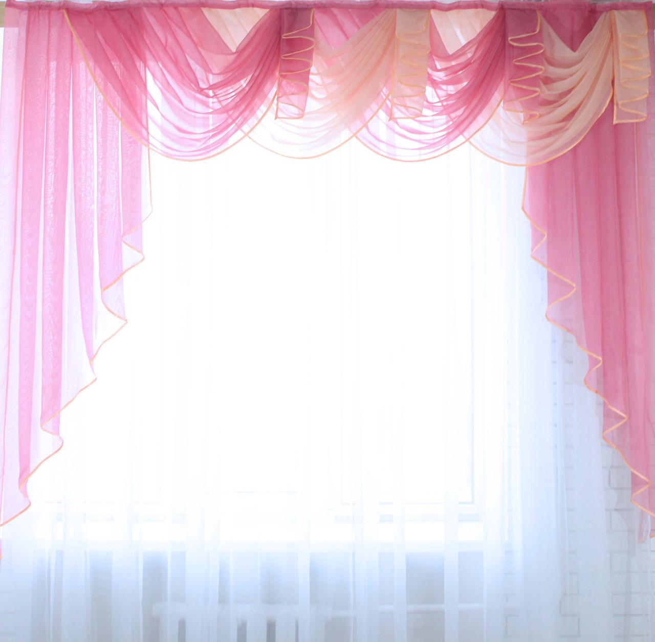 """Ламбрекен 2,4 м. """"Ракушка"""" №5 Колір рожевий з персиковим"""