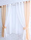 Комплект на кухню, тюль і шторки №38, Колір кавовий з білим, фото 2