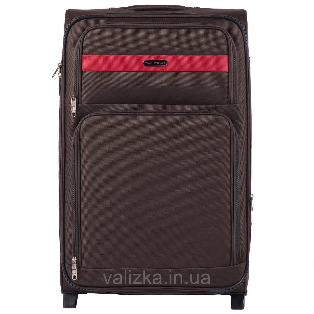 Великий текстильний валізу кавовий на 2-х колесах Wings 1605