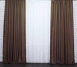 "Светонепроницаемая ткань блэкаут с фактурой ""Лен мешковина"". Высота 2,8м. Цвет коричневый. 277ш, фото 3"