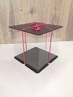 Коробка для торта.Прозрачная коробка для торта тубус.Упаковка для торта тубус черный 25*25