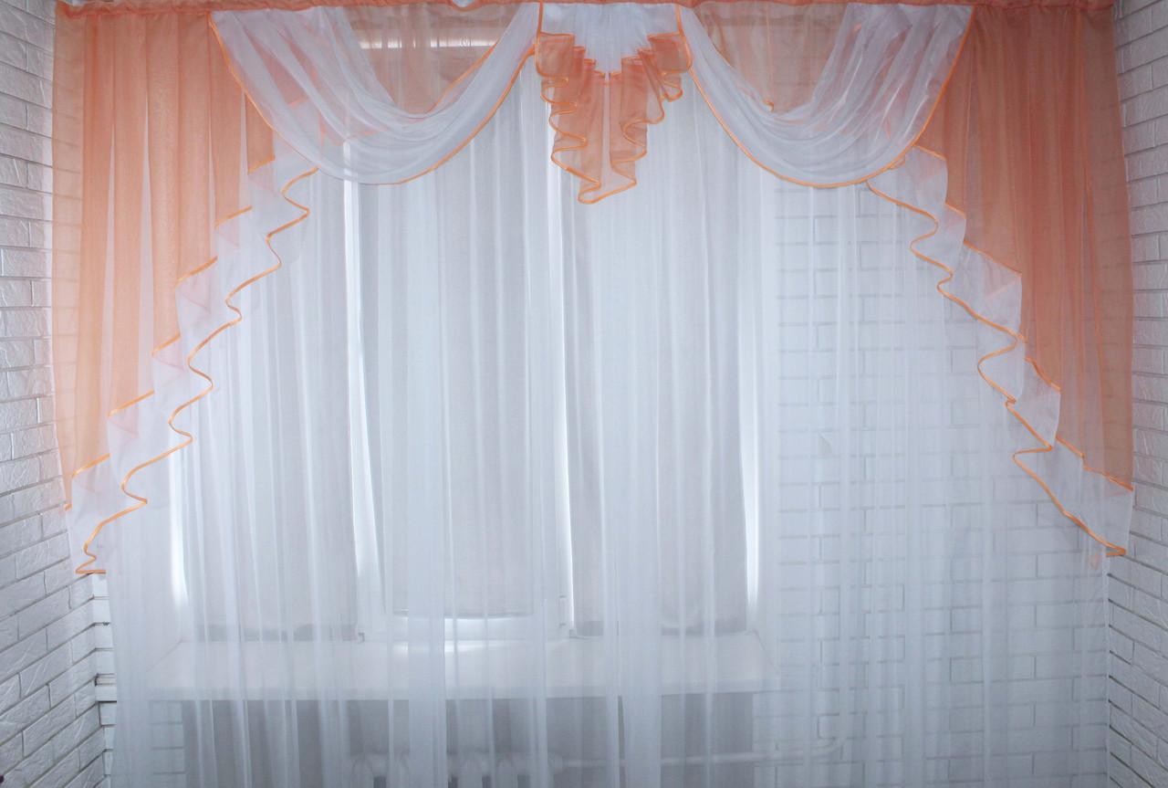 Ламбрекен №52 на карниз 3 метра ,цвет персиковый