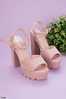 Женские босоножки бежевые / пудровые на каблуке 13 см эко-замш, фото 1