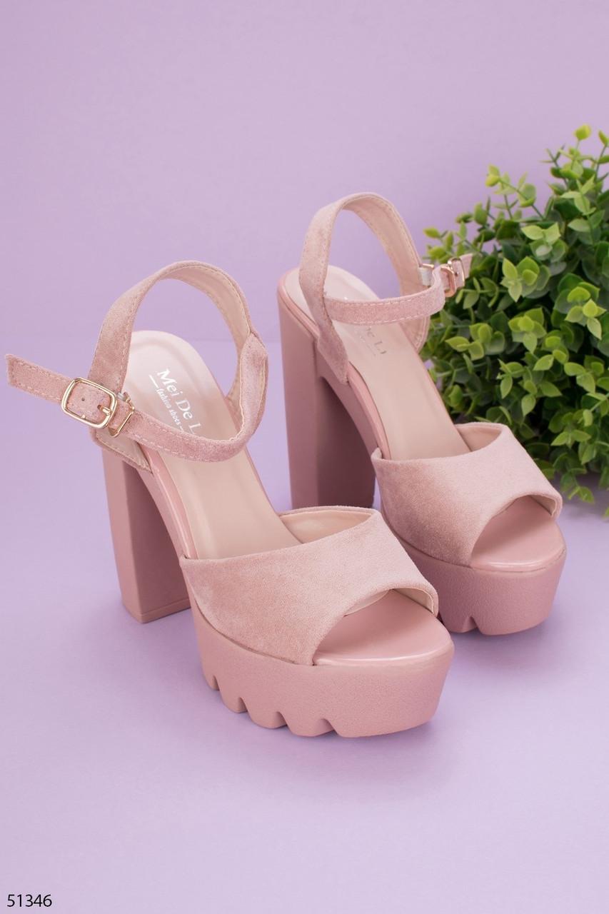 Женские босоножки бежевые / пудровые на каблуке 13 см эко-замш