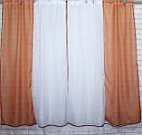 Комплект на кухню, тюль и шторки №38, Цвет теракотовый с белым, фото 2