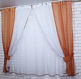 Комплект на кухню, тюль и шторки №38, Цвет теракотовый с белым, фото 3