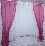 Комплект на кухню, тюль и шторки №51, Цвет малиновый, фото 3
