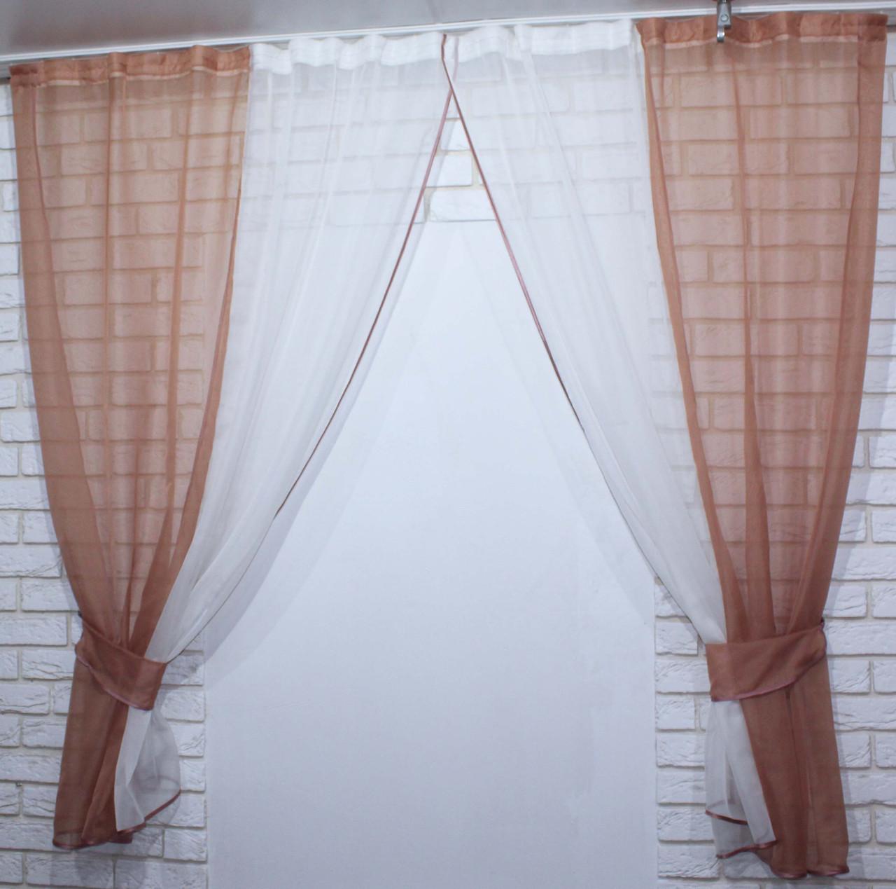 Комплект кухонные шторки с подвязками №17 Цвет коричнивый с бежевым