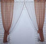 Комплект кухонные шторки с подвязками №17 Цвет коричнивый с бежевым, фото 4