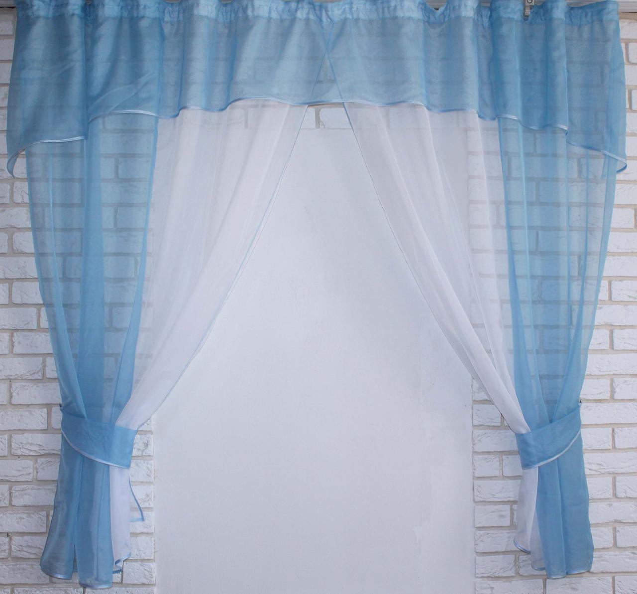 Кухонный комплект №17, шторки с ламбрекеном. Цвет голубой с белым.