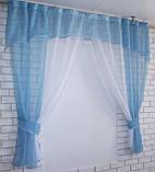 Кухонный комплект №17, шторки с ламбрекеном. Цвет голубой с белым., фото 4