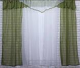 Комплект кухонные шторки с аркой и подвязками №66 Цвет оливковый с белым, фото 2