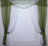 Комплект кухонные шторки с аркой и подвязками №66 Цвет оливковый с белым, фото 3