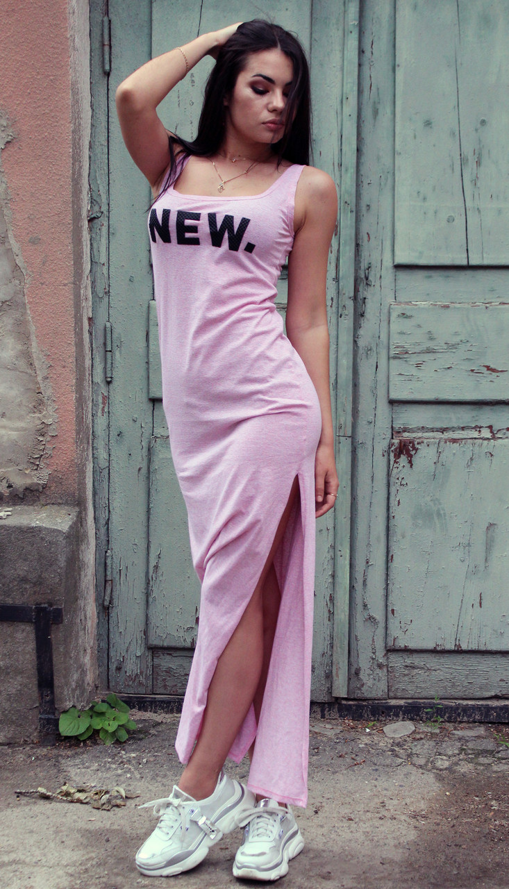 Летнее платье в пол с разрезами по бокам NEW