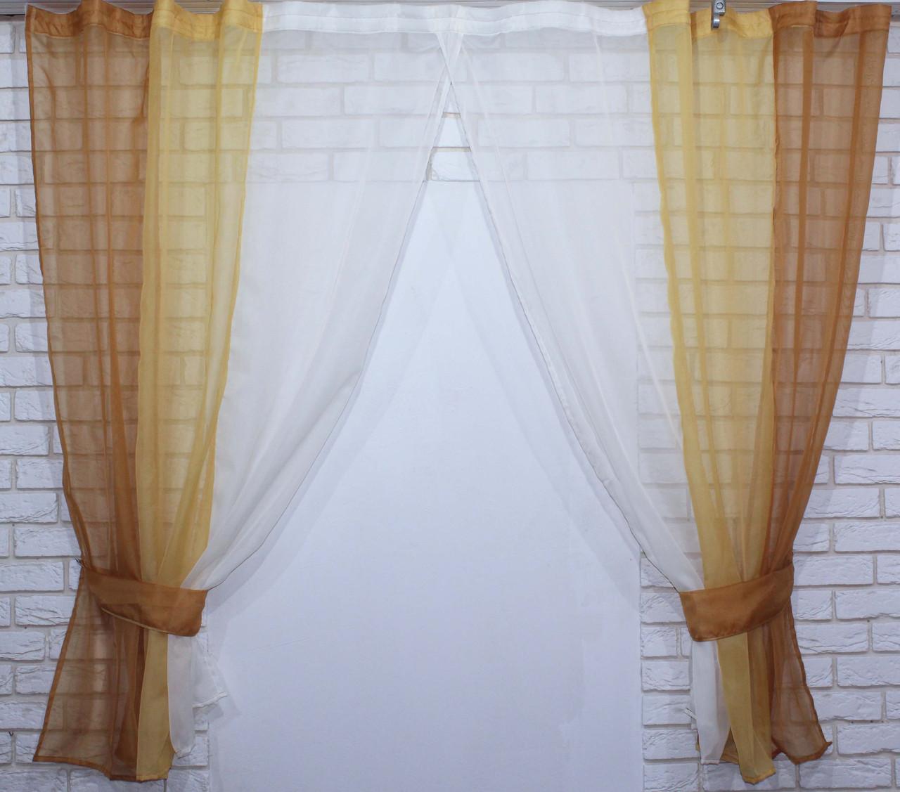 Комплект кухонные шторки с подвязками №54 Цвет кофейный с янтарным