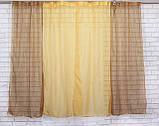 Комплект кухонные шторки с подвязками №17 Цвет янтарный с коричневым, фото 2