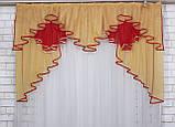 Ламбрекен на карниз 1.5м.модель №93. Цвет янтарный с  красним, фото 2