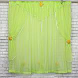 Комплект на кухню, тюль и шторки №064, Цвет салатовый с белым, фото 2