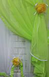 Комплект на кухню, тюль и шторки №064, Цвет салатовый с белым, фото 4