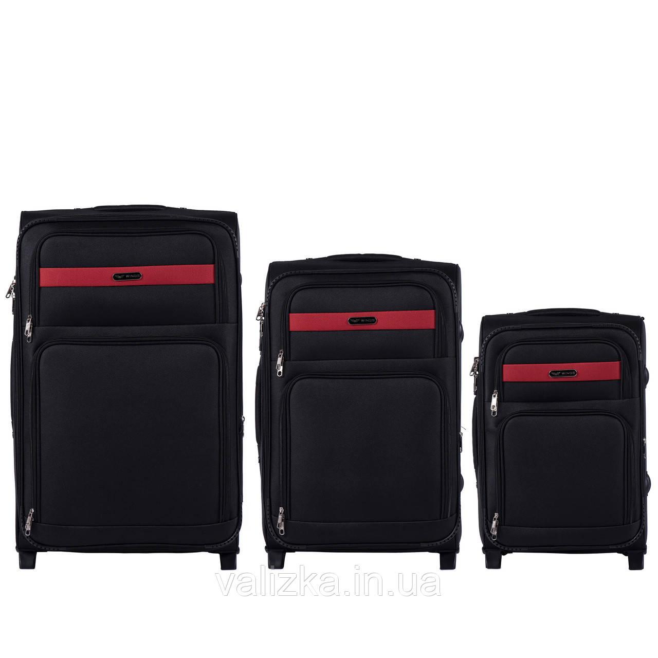 Комплект текстильных чемоданов на 2-х колесах Wings 1605  с расширителем, черного цвета
