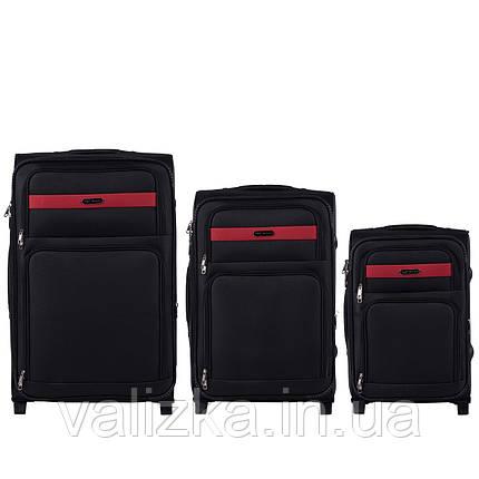 Комплект текстильных чемоданов на 2-х колесах Wings 1605  с расширителем, черного цвета, фото 2