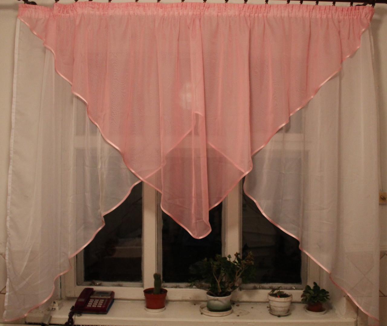 Кухонні завісу №09 Колір рожевий з білим