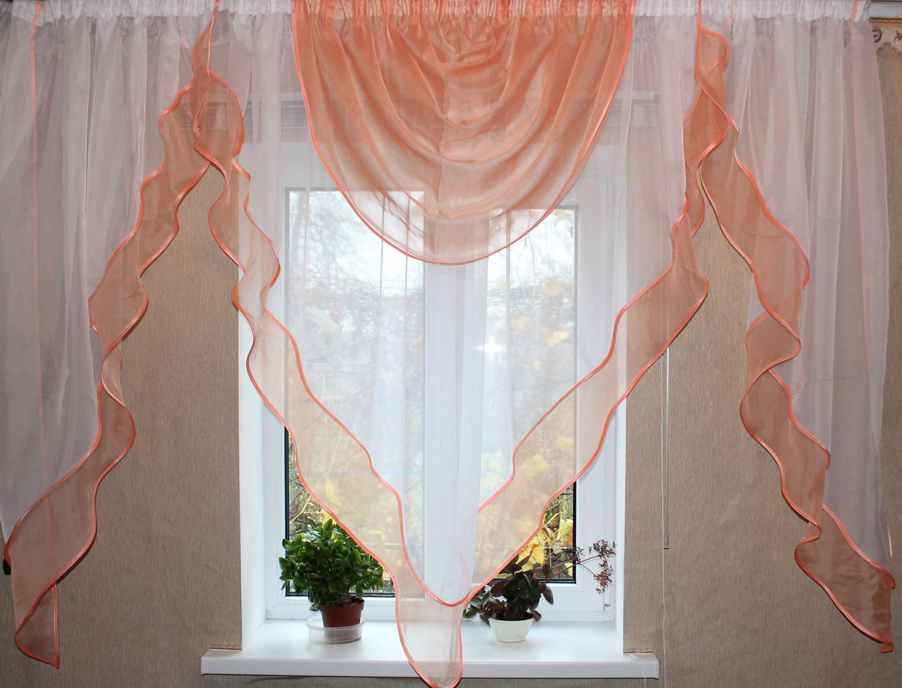 """Кухонный комплект """"М"""" №05 Цвет персиковый с белым"""