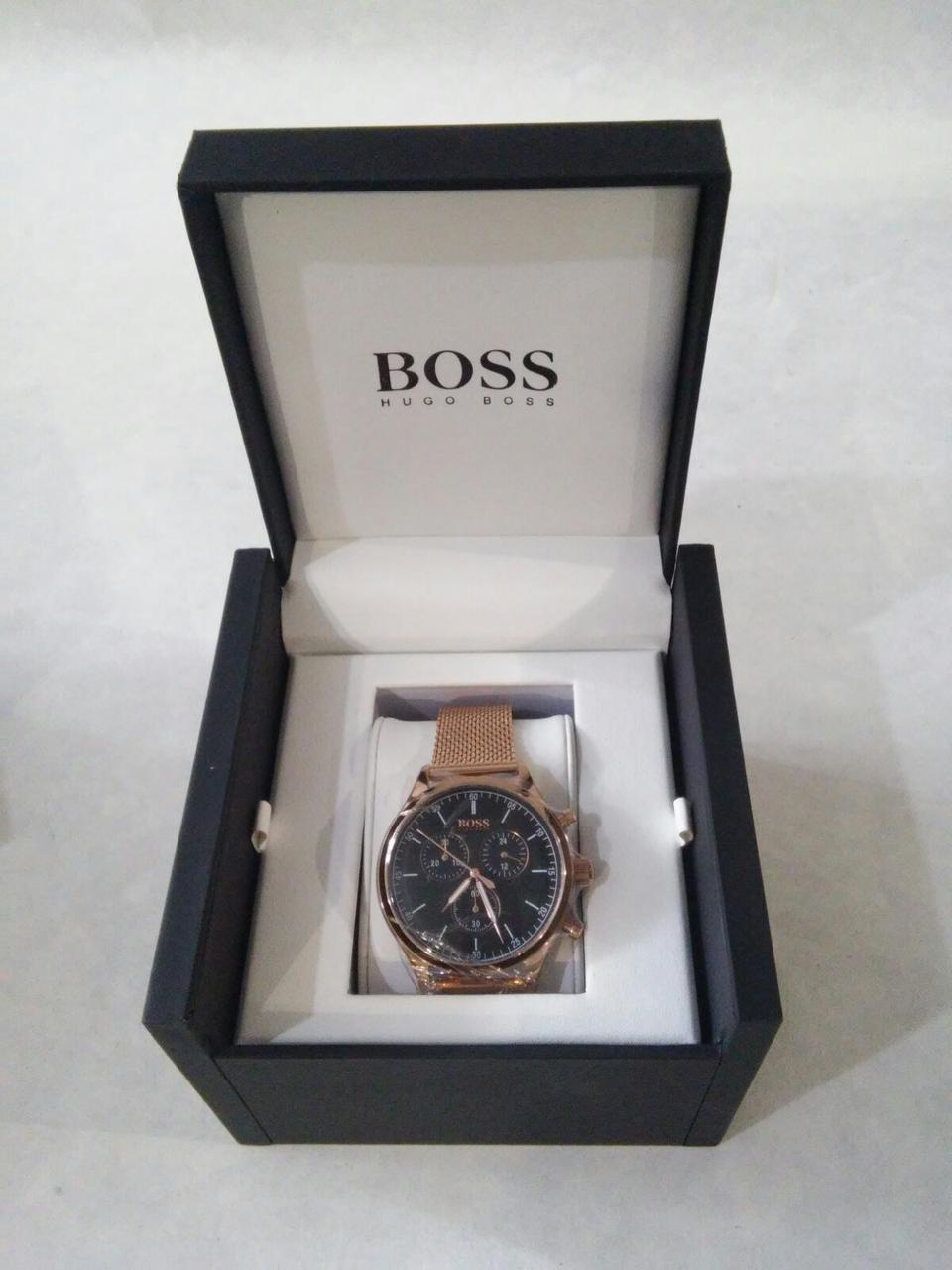 Часы наручные мужские Hugo Boss Companion Black Face Gold Chronograph Mens Watch HB 1513548