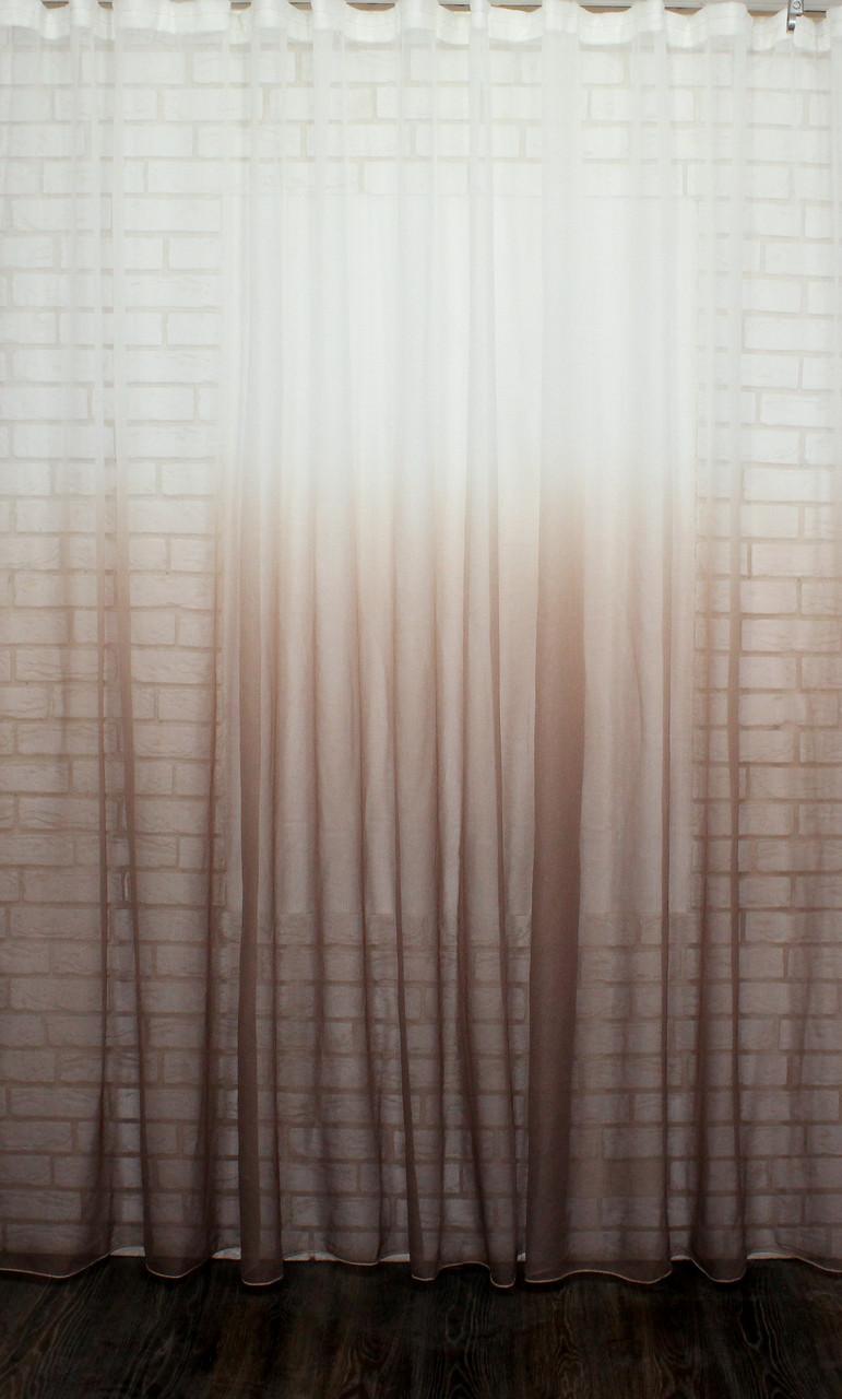 "Тюль растяжка ""Омбре"" на батисте (под лён) с утяжелителем, цвет какао с белым 510т"