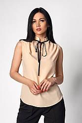 Бежевая женская блуза без рукавов размер 42-50