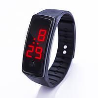 Спортивные силиконовые часы-браслет LED черные SW2-01, наручные часы, женские часы, мужские часы