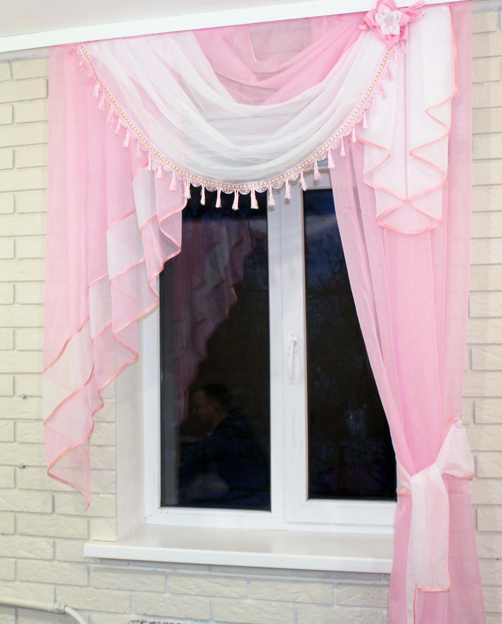Ламбрекен №27а на карниз 1.5м. с шторкой. Цвет розовый