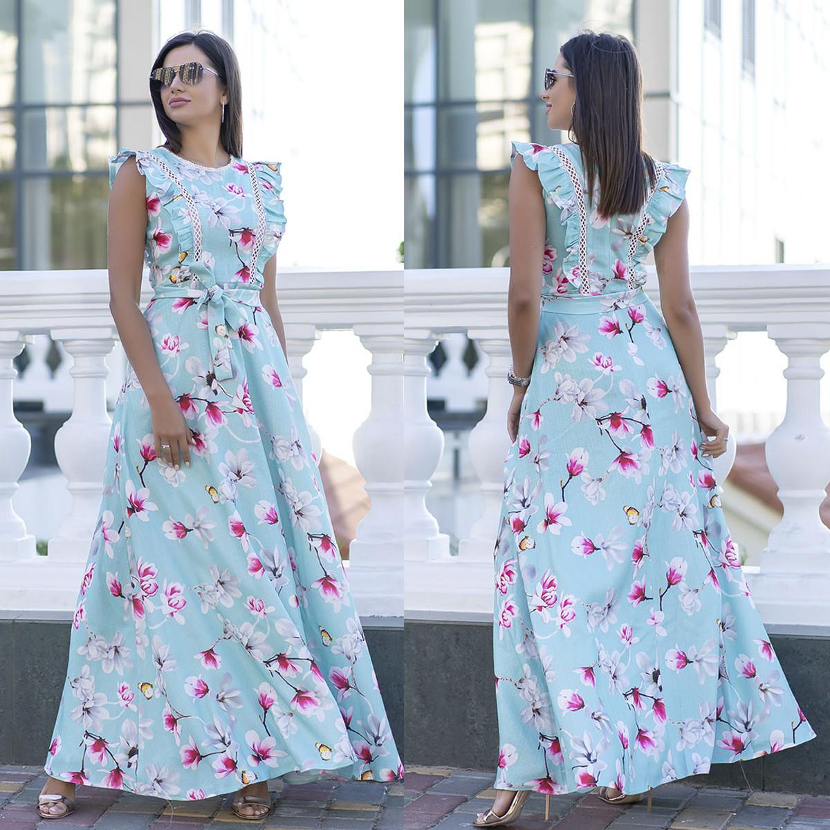 """Длинное летнее льняное платье с цветами """"Испания"""""""