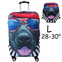 """Чехол для дорожного чемодана на чемодан защитный 28-30"""" L, Dog in Glasses"""