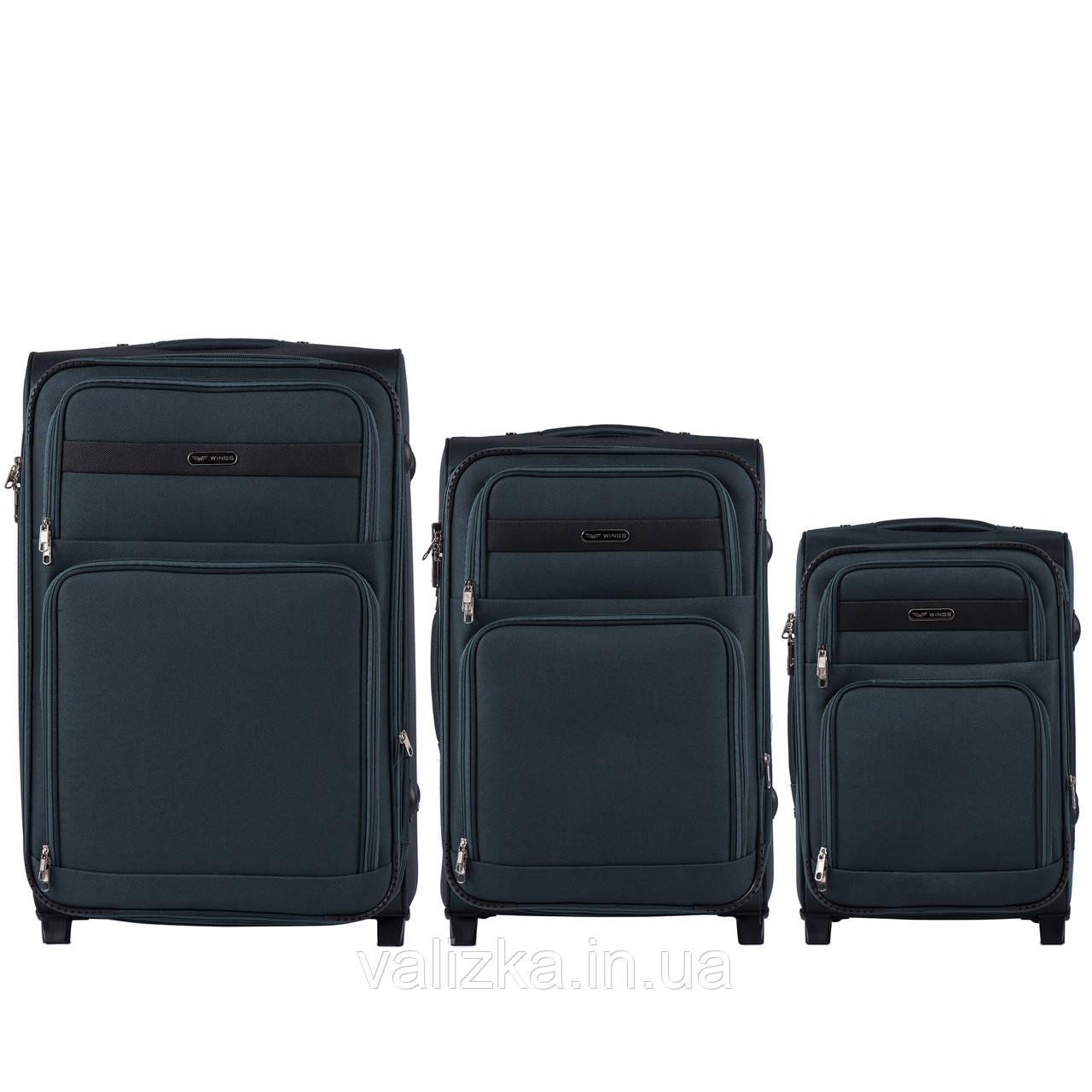 Комплект текстильных чемоданов на 2-х колесах Wings 1605 с расширителем, темно-зеленого цвета