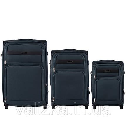 Комплект текстильных чемоданов на 2-х колесах Wings 1605 с расширителем, темно-зеленого цвета, фото 2