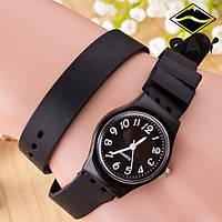 Часы-браслет на силиконовом ремешке Черные 096-2, наручные часы, женские часы, мужские часы
