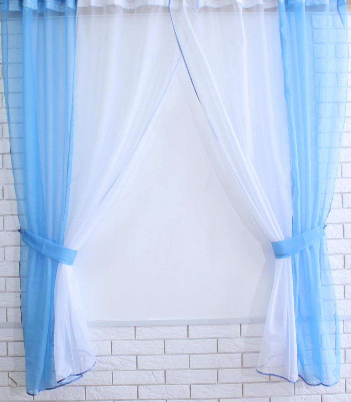 Комплект кухонные шторки с подвязками №17 Цвет голубой