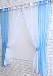 Комплект кухонные шторки с подвязками №17 Цвет голубой, фото 2