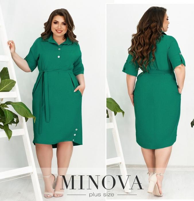 Платье-рубашка с поясом цвет ментол  Размеры: 52-54, 60-62